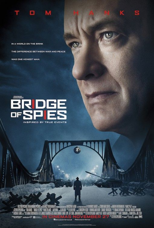 BRIDGE OF SPIES - A 2015 Steven Spielberg Biographical Thriller starring Tom Hanks, Mark Rylance and Alan Alda. During the Cold War, an American lawyer is recruited to defend an arrested Soviet spy in court, and then help the CIA facilitate an exchange of the spy for the Soviet captured American U2 spy plane pilot, Francis Gary Powers. PG-13. Incredible events of out time!