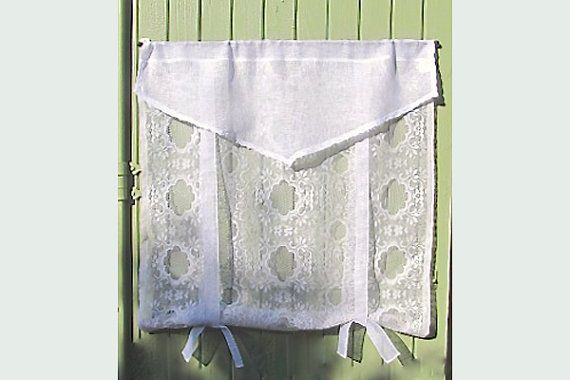 White Linen Lace Curtain French Kitchen Curtain by HatchedinFrance