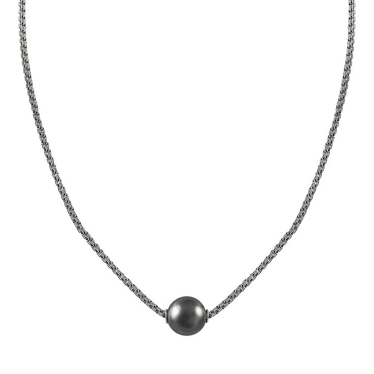 Sterling Silver Tahitian Cultured Pearl Necklace, Women's, Black