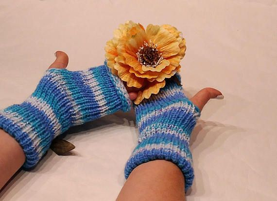 Fingerless Gloves Arm Warmers blue gloves Women's