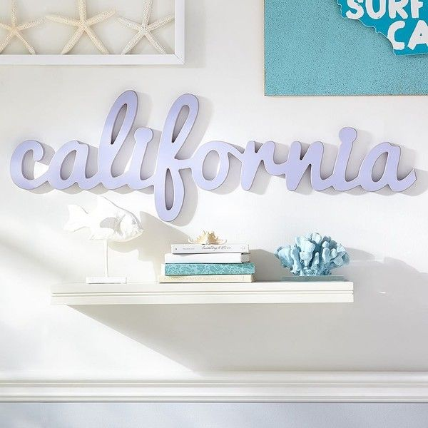 PB Teen Wood Script Art, California, Lavender at Pottery Barn Teen -... (90 CAD) ❤ liked on Polyvore featuring home, home decor, wall art, wooden home decor, pbteen, interior wall decor, word wall art and typography wall art