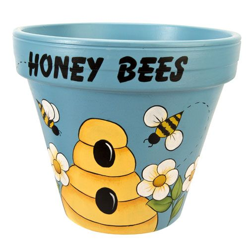 Honey Bees Painted Pot