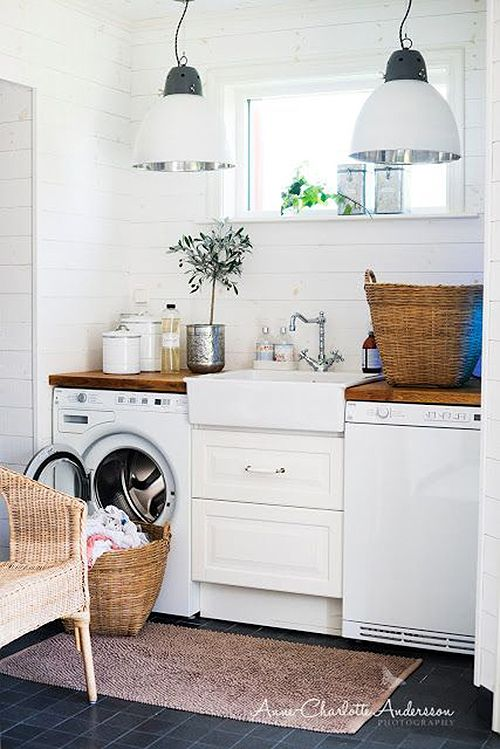 Small space great layout laundry room. And love the combo of dark floor with wood!