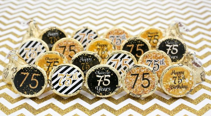 75th Birthday Party Decorations - Gold & Black - Stickers for Hershey Kisses (Set of 324)