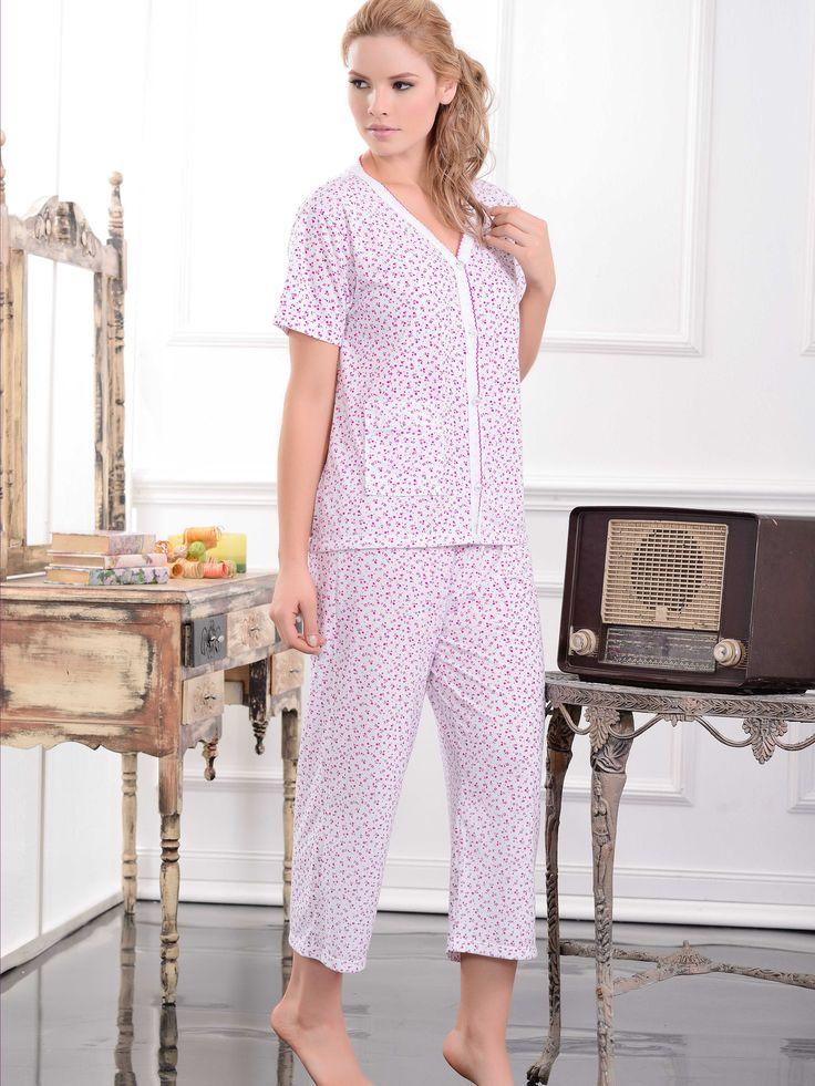 43688 Pijama en algodón polipester, silueta de corte amplio con botones en el frente de la blusa y cintura elástica para mayor comodidad Tallas / Sizes / S - M - L - XL - XXL