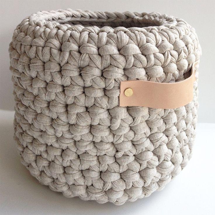 Crochet Basket with Leather HandlesThe Block Shop - Channel 9