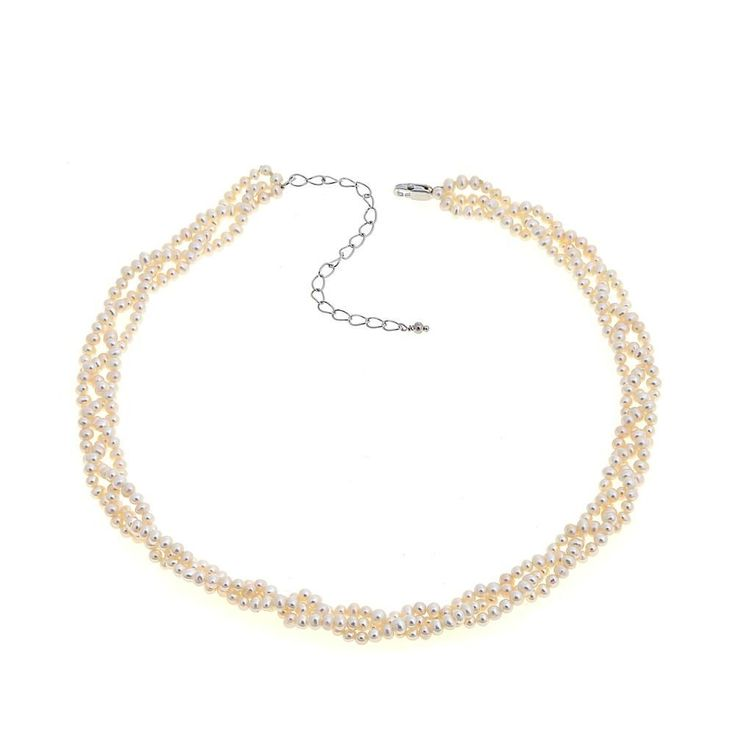 "Imperial Pearls by Josh Bazar Imperial Pearls 2.5-3.5mm Seed Cultured Freshwater Pearl Sterling Silver 14"" Choker-Necklace"