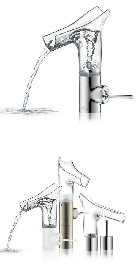 Countertop glass washbasin mixer AXOR STARCK V by HANSGROHE | #design Philippe Starck @Hansgrohe SE