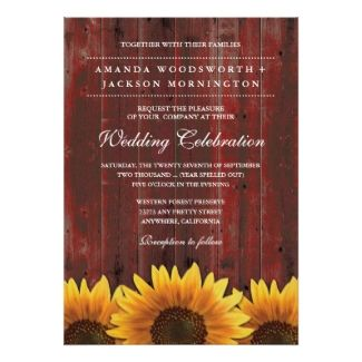 Red Barn and Sunflower Wedding Invitation #rusticwedding #barnwedding #rusticweddinginvitations