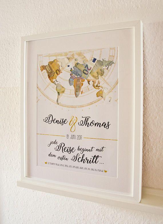 """Geldgeschenk """"Weltkarte"""" Hochzeit """"Jede Reise beginnt…"""""""