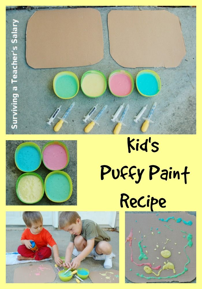 DIY Kid's Puffy Paint Recipe - an awesome idea for kids to make themselves or pair it up with a science lesson! Save some money and make your own paint supplies!