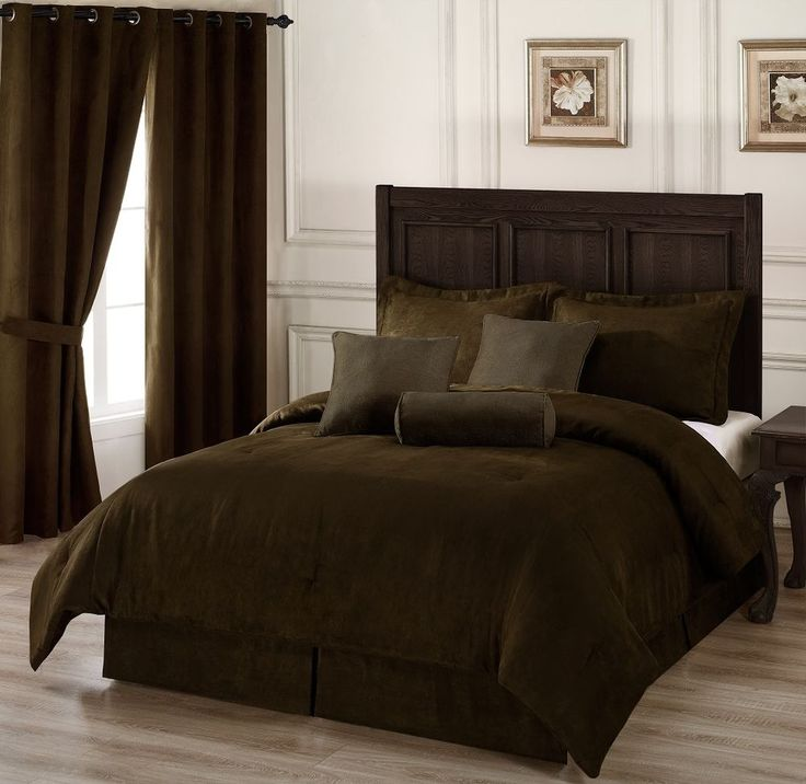 7pc Chocolate Brown Microsuede Comforter Set King Size