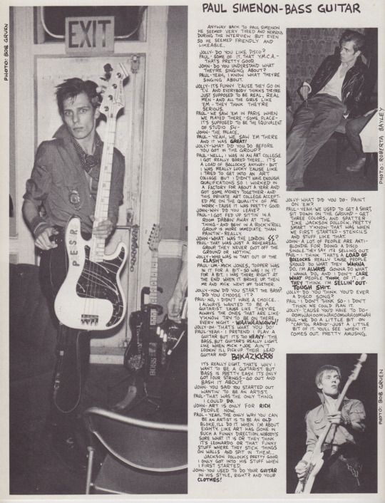 The Clash in the may/june issue of Punk Magazine, 1979, photo by Bayley and Gruen.
