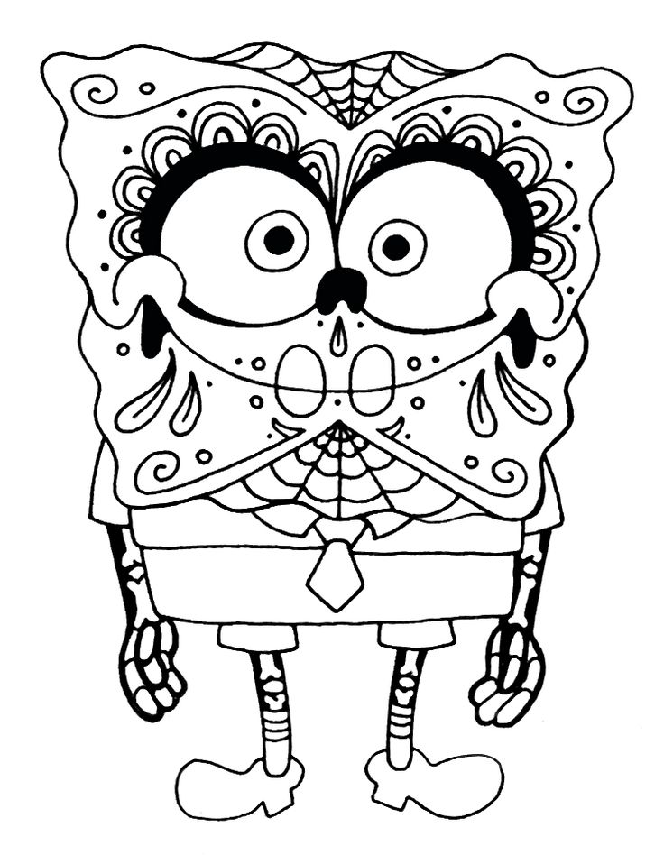 sugar skullday of the dead spongebob squarepants coloring page printable