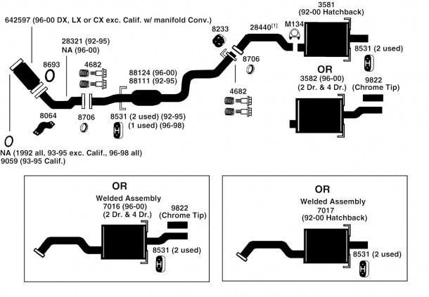 Honda Civic Exhaust Diagram From Best Value Auto Parts in