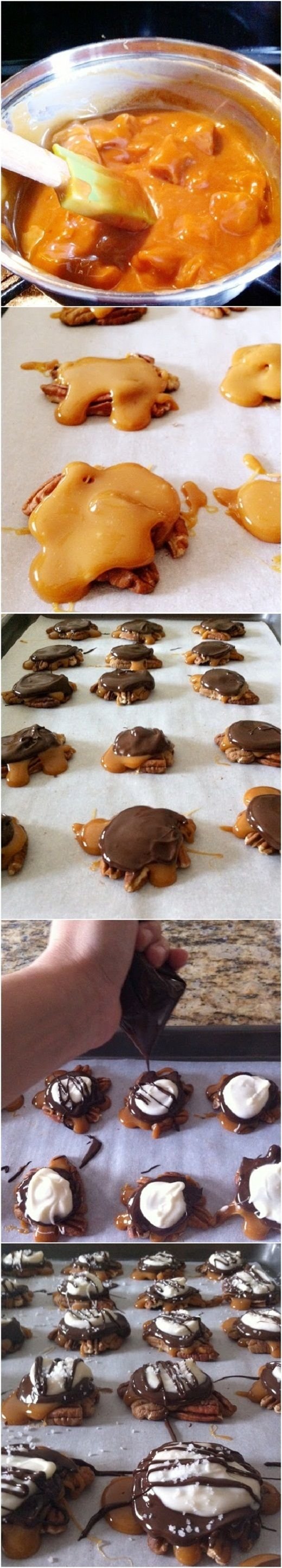 Chocolate Caramel Pecan Clusters - need to roast the pecans first for ...