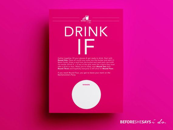 Bachelorette Party Game Drink If Girls Night Out Games Before