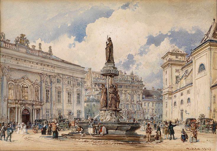 Vienna, Freyung mit Austriabrunnen by Rudolf von Alt, 1847