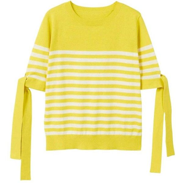 MANGO Bow striped sweater ($40) ❤ liked on Polyvore featuring tops, sweaters, stripe sweater, round neck sweater, mango tops, mango sweater and striped top