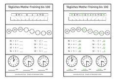 Tägliches Mathe-Training bis 100, Mathe, Übung, kostenlos, Arbeitsblatt, Dyskalkulie, Kinder, Eltern, Schule, Unterricht, dyscalculia, worksheet, maths, Zahlenraum 100