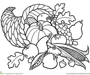 Printable Fall Coloring Pages: Cornucopia Basket (via Parents.com)