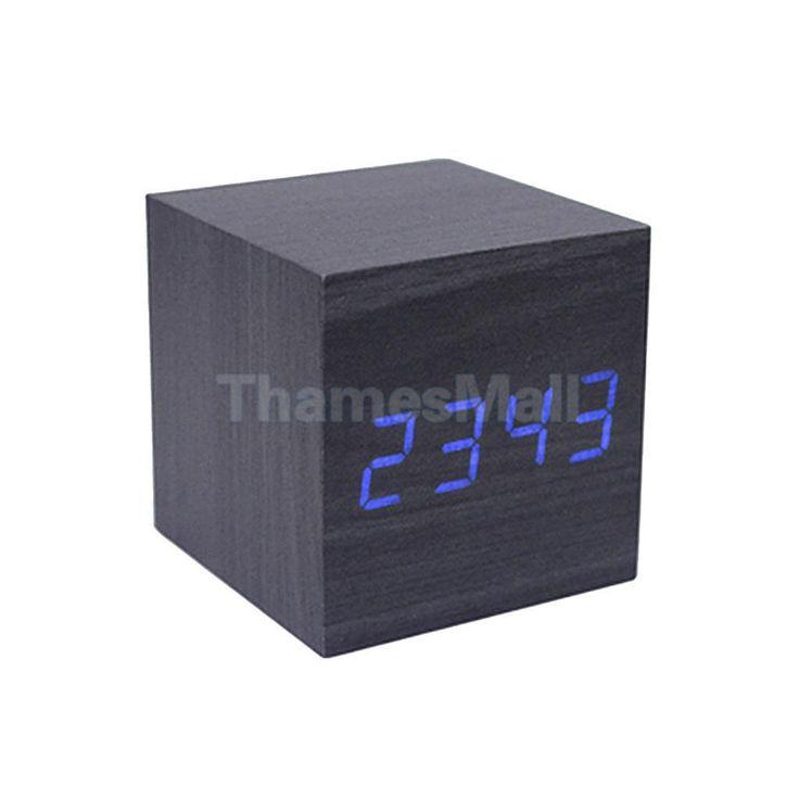 Square Digital Snooze Alarm Clock Blue Led Dimmer Room Temperature Black