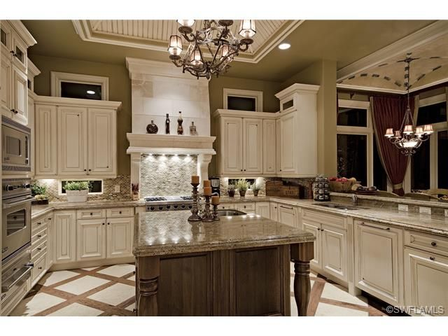 Traditional gourmet center island kitchen.  Talis Park in Naples, FL