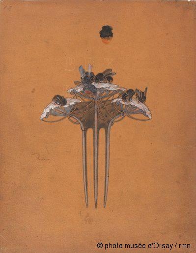 René Lalique Projet de peigne aux berces et bourdons entre 1899 et 1905 encre noire et gouache sur papier calque H. 0.028 ; L. 0.022 musée d'Orsay, Paris, France
