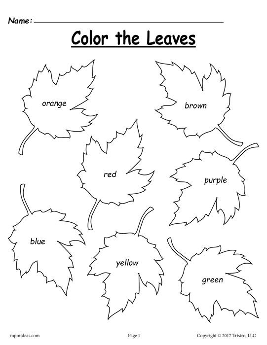 FREE Fall Leaf Color Words Worksheet!