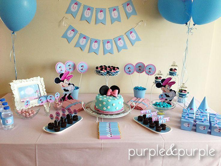 Minnie temalı doğum günü şeker masası