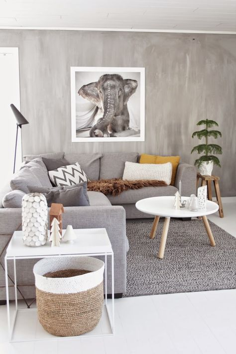 Love how the walls in this living room look like diy concrete! Silvery serene