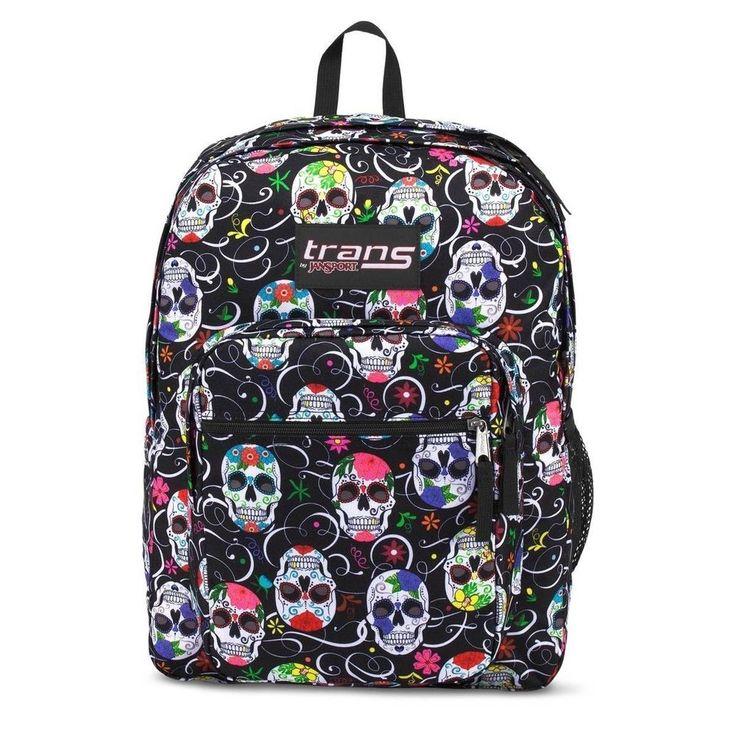 Trans Jansport Supermax Backpack Sugar Skulls 17 inches Laptop Sleeve Pocket NEW #JanSport #Backpack