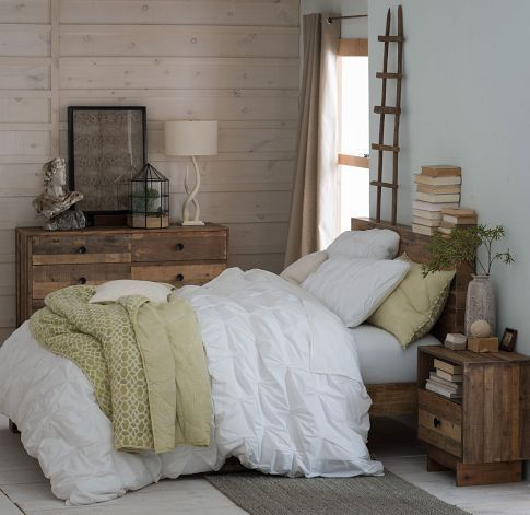 Natural wood. green & white. (west elm, mixed bedding - textures and colors)