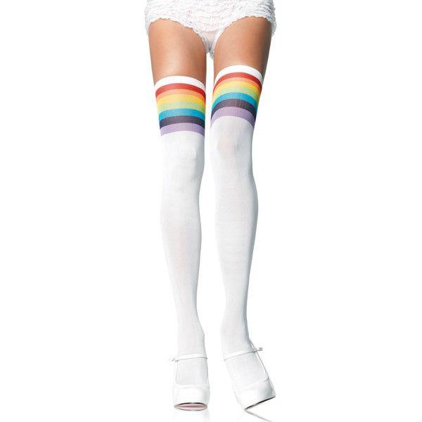 Women's Leg Avenue Rainbow SocksOpaque Thigh-Highs (420 RUB) ❤ liked on Polyvore featuring intimates, hosiery, socks, socks & hosiery, white, rainbow socks, white socks, white hosiery, thigh high hosiery and leg avenue