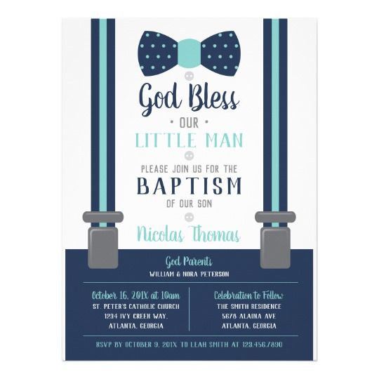 Little Man Baptism Invitation, Navy, Turquoise Invitation