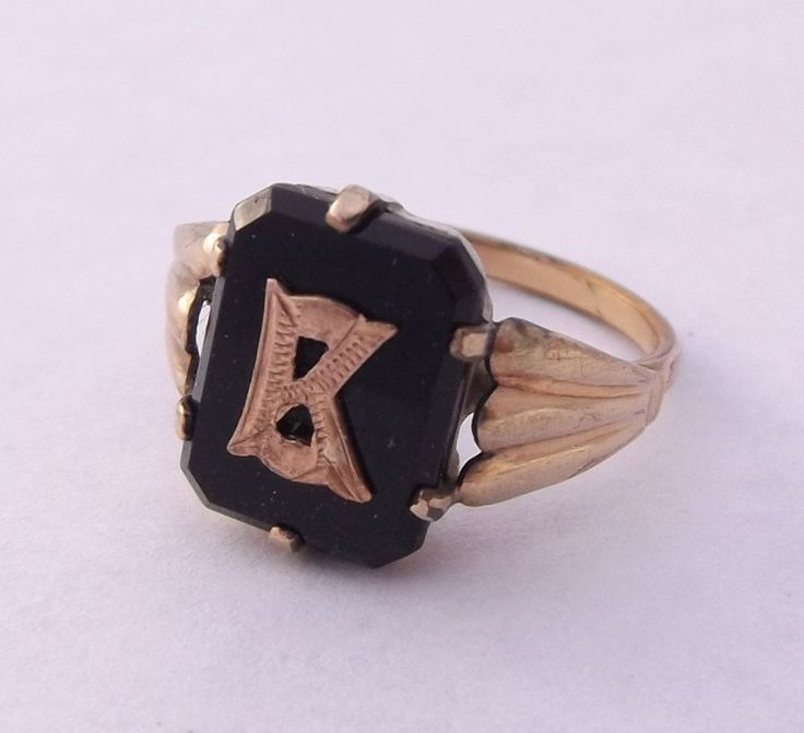 Men's Signet Ring, Vintage Rolled Gold 'K' Ring, Kappa Fraternity Ring, UK size M 1/2 ~ US size 6 1/2 by DaisysCabinet on Etsy