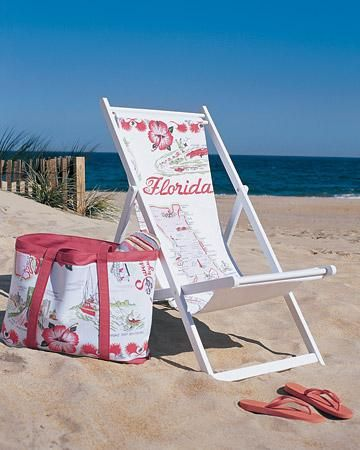 Update camping sling chairs with the Souvenir Slings How-to.Florida Beach, Beach Chairs, Beach Stuff, Sewing Projects, Beach Bags, Martha Stewart, Sling Chairs, Vintage Tablecloth, Projects Gallery