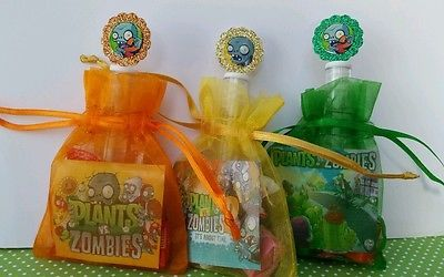 12 Plants vs Zombies Birthday Party Favor Bags Organza Stickers Bubbles Goody