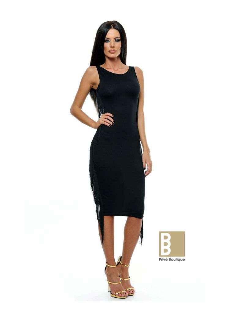 Rochie midi franjuri - <strong>Material: </strong>tricot si franjuri