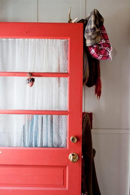 Coral front doorBeach House, Coats Racks, Coral Front Doors, Coral Doors, Colors Doors, Side Doors, House Ideas Front, Red Front Doors, Bright Colors