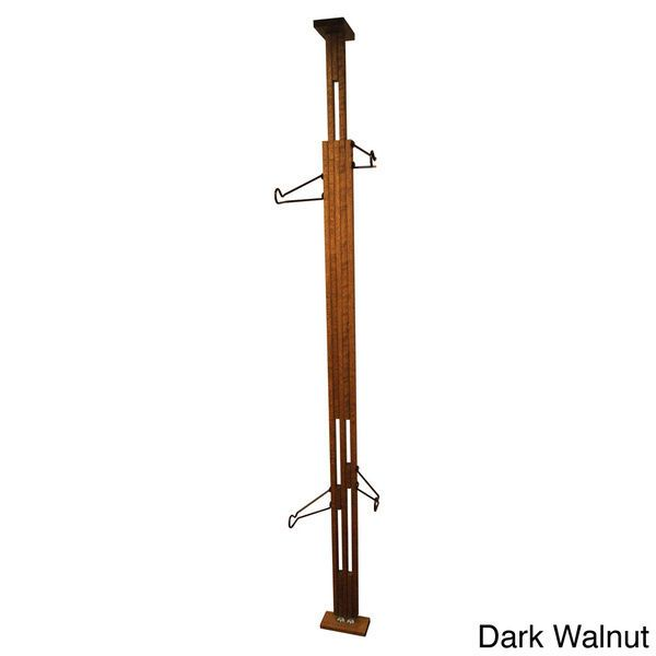 Two Bike Storage Rack Floor to Ceiling Dark Walnut Free Shipping New