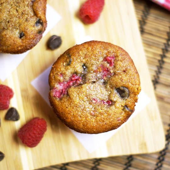 Raspberry Chocolate Chip Muffins. (Grain-free, naturally sweetened) -- the best flavor combination I've ever tasted!