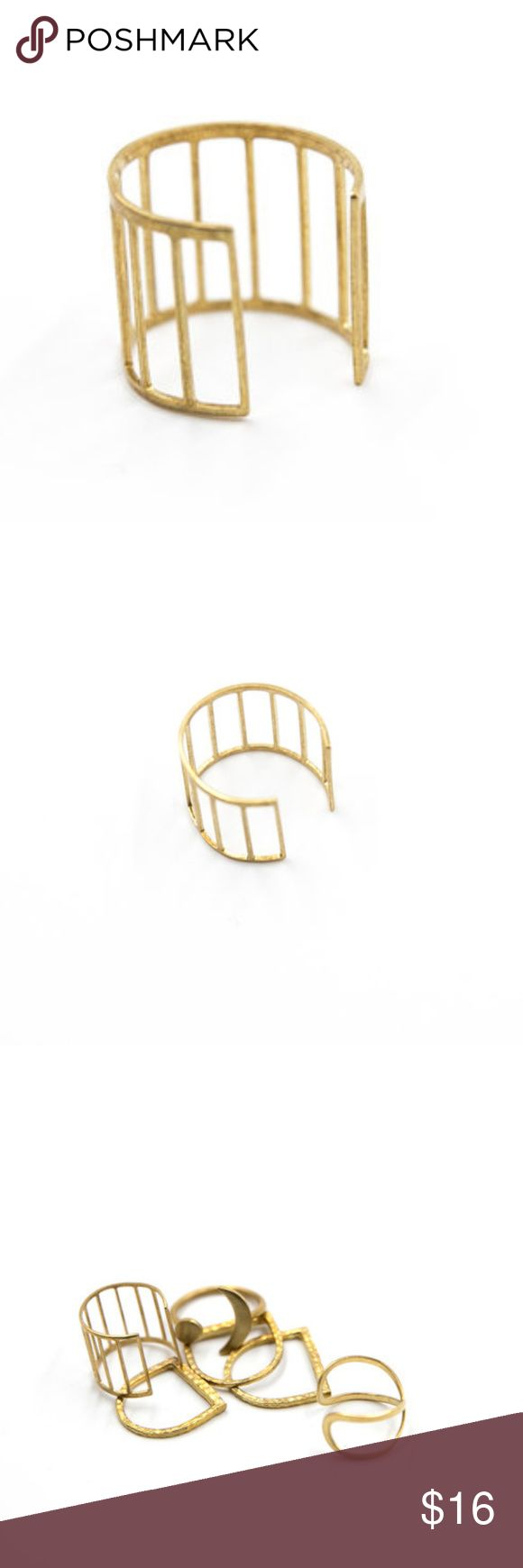 Ladder Ring Raw brass adjustable ladder ring.  Handcrafted. Jewelry Rings