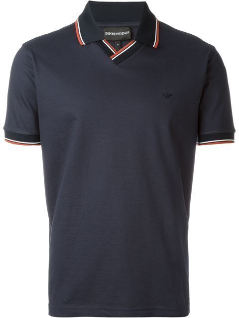 EMPORIO ARMANI Contrast Trim Polo Shirt. #emporioarmani #cloth #shirt