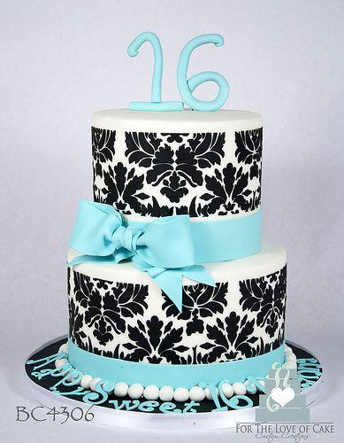 BC4306-black-aqua-damask-cake-toronto-oakville