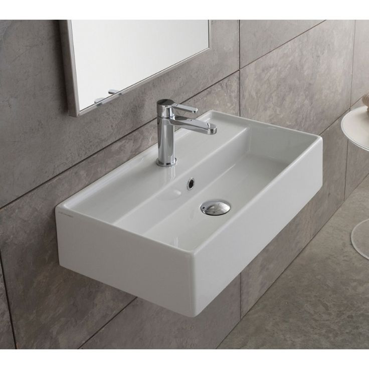 Photo Of Scarabeo Teorema Rectangular White Ceramic Wall Mounted or Vessel Sink