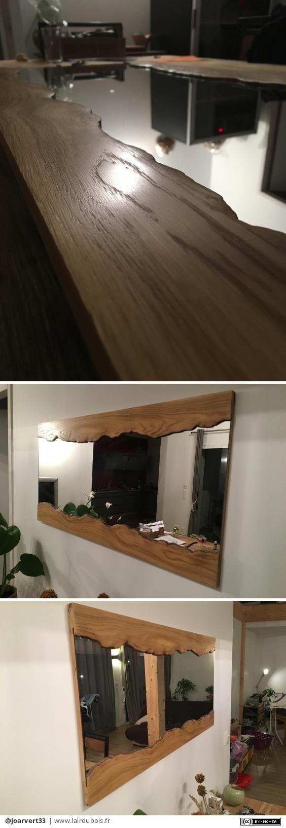 bonjour je vous présente un mirroir réaliser en Chene imitation «live edge»   j'ai recupere u. mirroir Ilea a 10€ , une planche chene à 20€ chez l...y m....n et de la colle époxy a 10€... donc un mirroir pour pas trop cher et sympa dans le salon!  #lairdubois #decoration #miroir