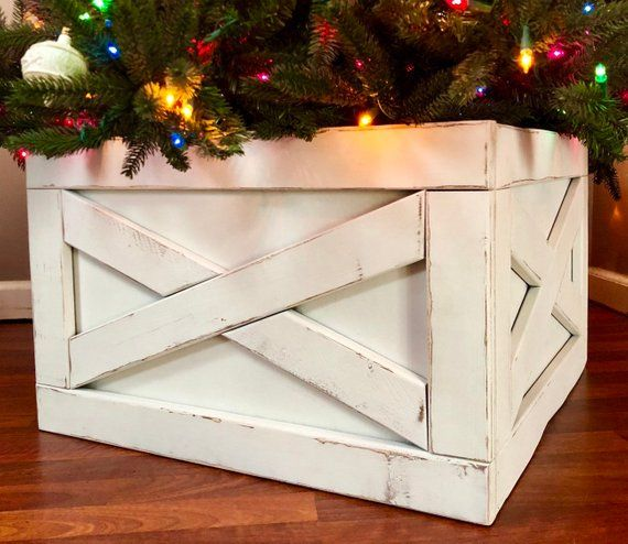 Farmhouse Christmas Tree Box Skirt Christmas Tree Box Farmhouse Christmas Tree Skirts Christmas Crafts Diy