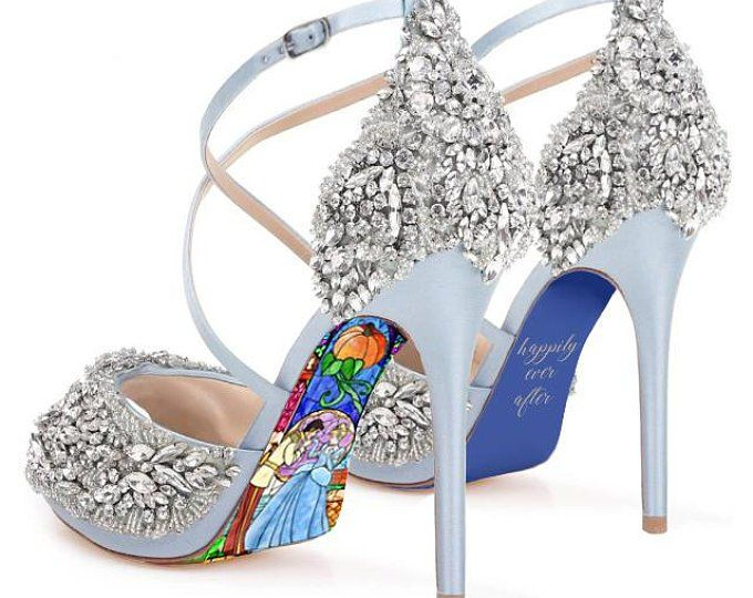 584f71da3d15 Custom hand painted Beauty and the Beast Stained Glass heels in 2019 ...