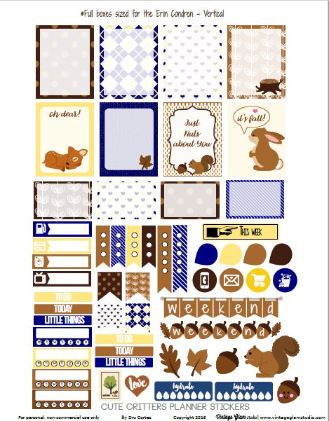 """We are one day away from the official first day of fall. Today, I am releasing a planner stickers sampler set with more cuteness. I did use a commercial use clip art set for the cute woodland animals but the rest of the designs are mine. Hope you like more cute woodland animals, """"sweater weather"""" textures and the blue and … Continue reading Cute Critters Planner Stickers – Free Printable →"""